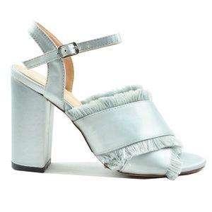 Women's Criss Cross Trimmed Cut Silver Heels